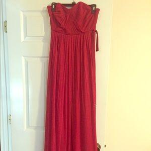 David's Bridal Apple Red Bridesmaid Dress